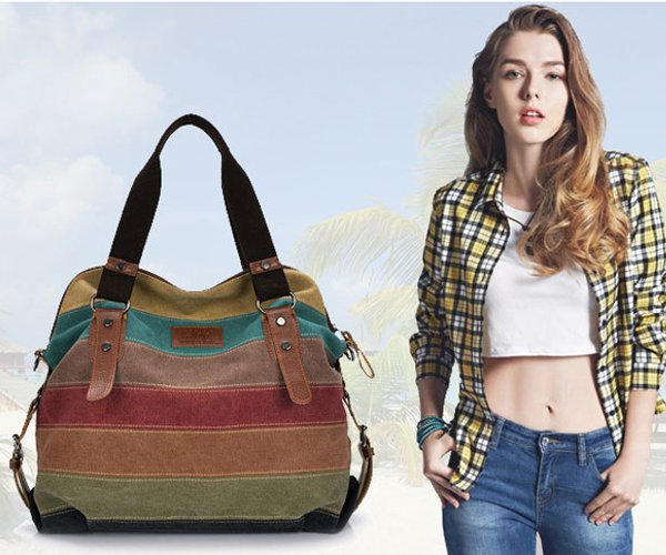 'Olivia' Vintage Canvas Shoulder Bag Handbag
