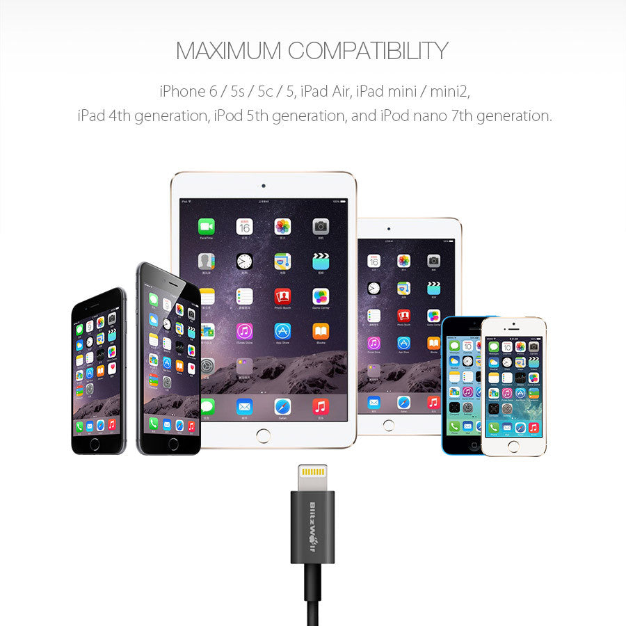Lightning Cable Apple iPhone Charger -BlitzWolf® BW-MF1 [Apple MFi Certified]