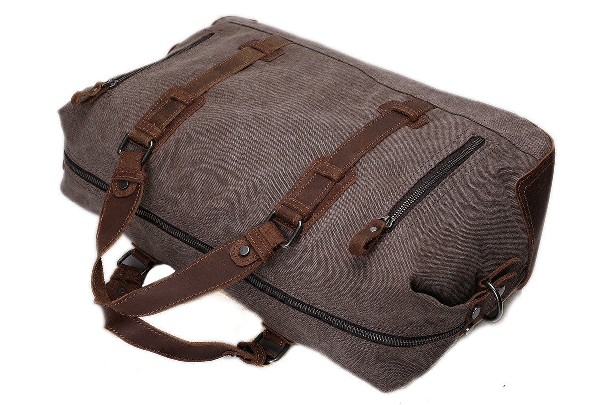 Handmade Leather Trimmed Waxed Canvas Travel Bag Duffle Bag Holdall