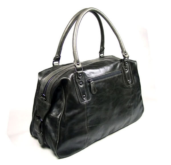 Hermes Leather Travel Bag Holdall - Dark Grey