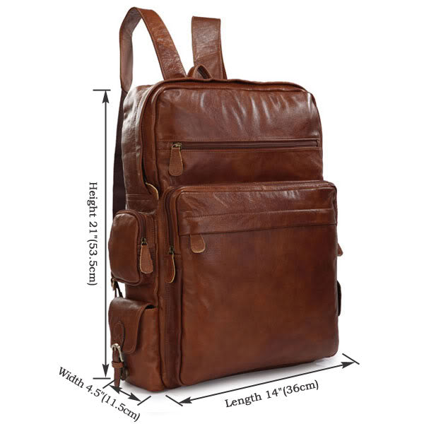 'Viator' Soft Leather Multi Pocket Backpack