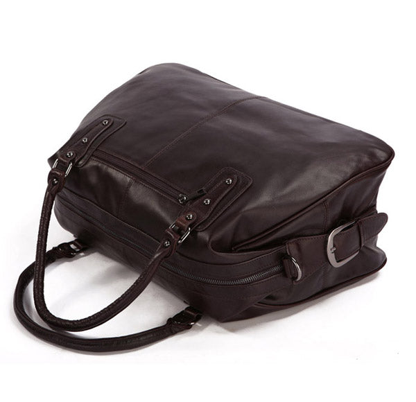 Hermes Leather Travel Bag Holdall - Dark Brown