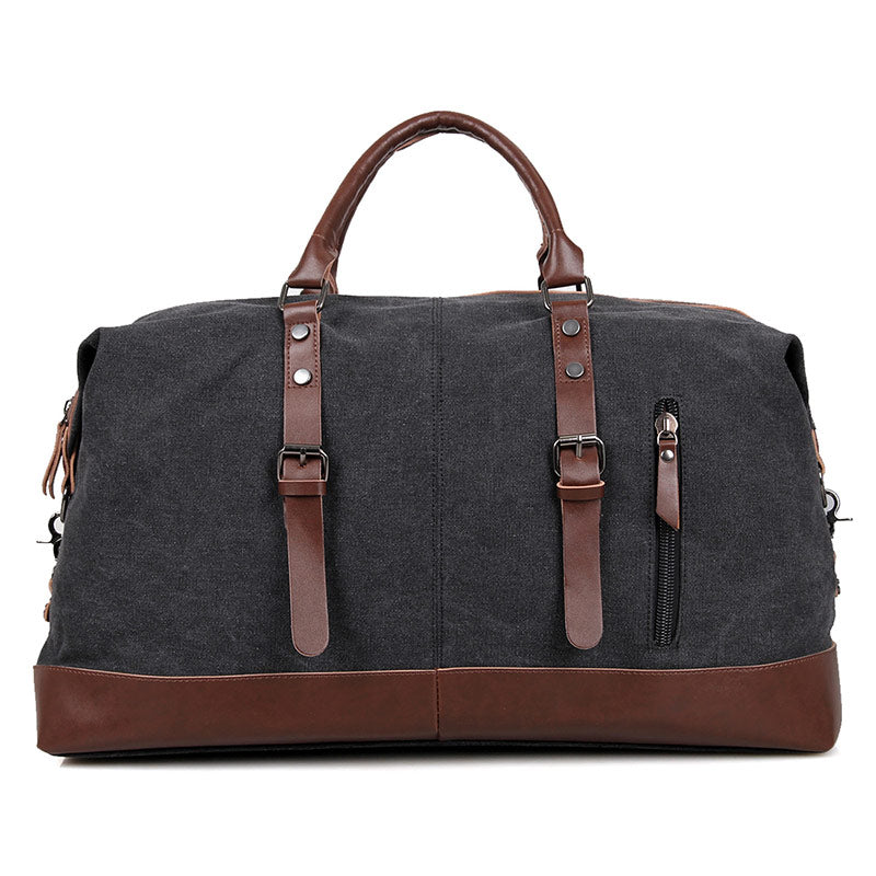 Canvas and Leather Vintage Overnight Duffel Weekender Bag - Black