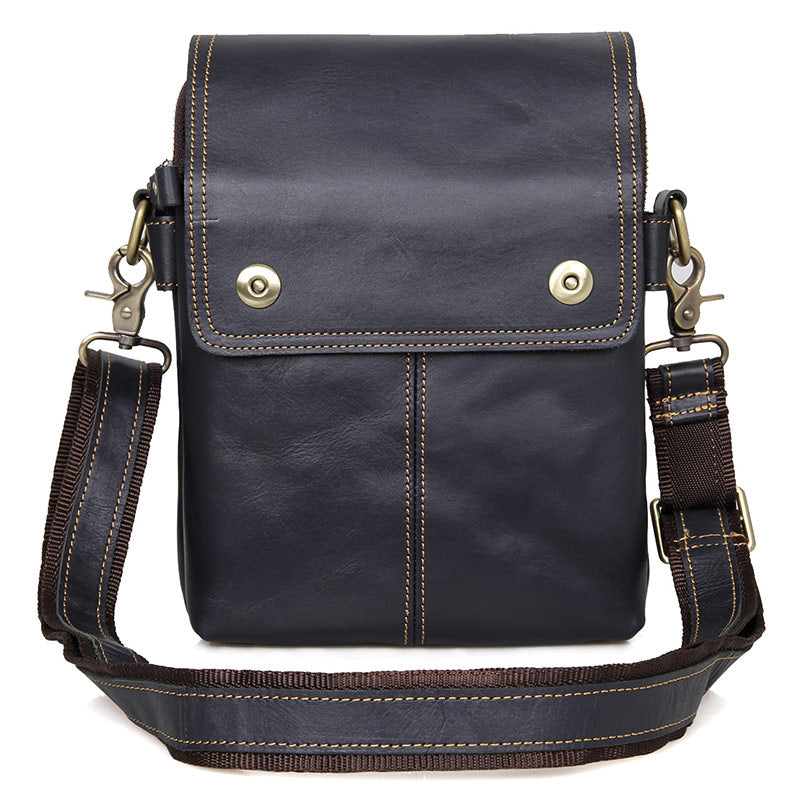 """Johnstone"" Leather Vertical Messenger Bag - Black"
