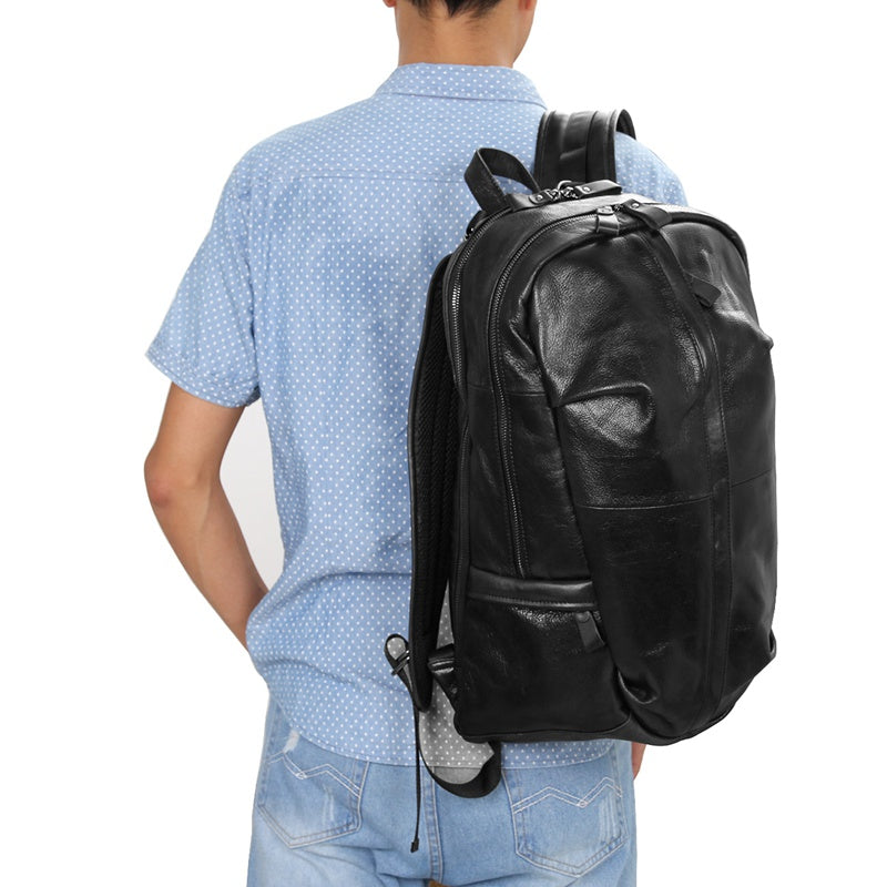 Street Smart Leather Backpack - Black