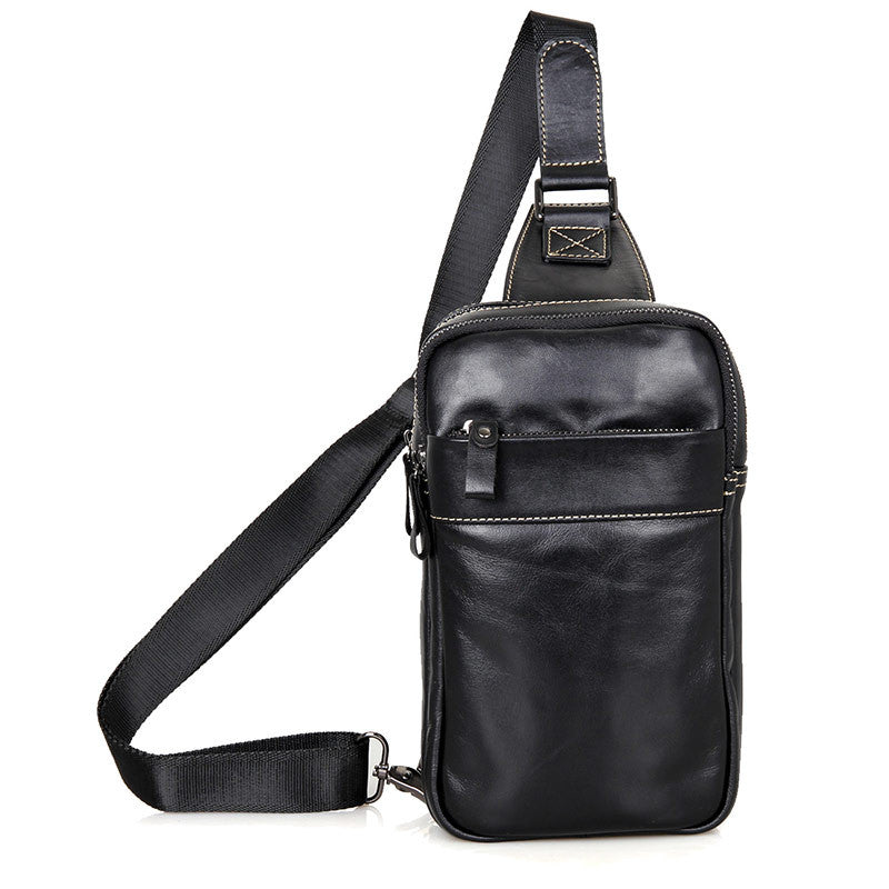 Leather Cross Body Bag Chest Bag Contrast Stitching - Black