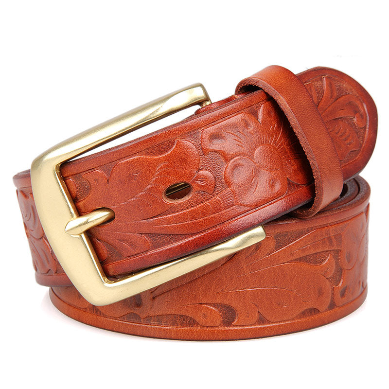 Handmade Vegetable Tanned Italian Leather Belt One Size - USLB014B-1