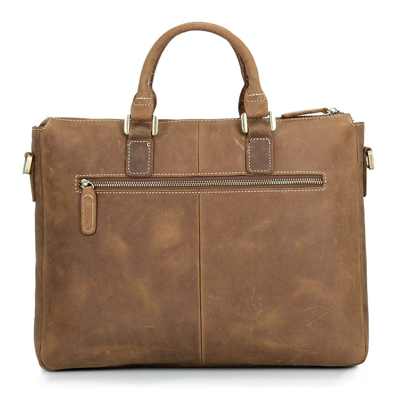 Handmade Leather Laptop Briefcase with Adjustable Strap - Brown