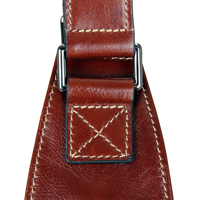 Leather Cross Body Bag Chest Bag Contrast Stitching - Brown