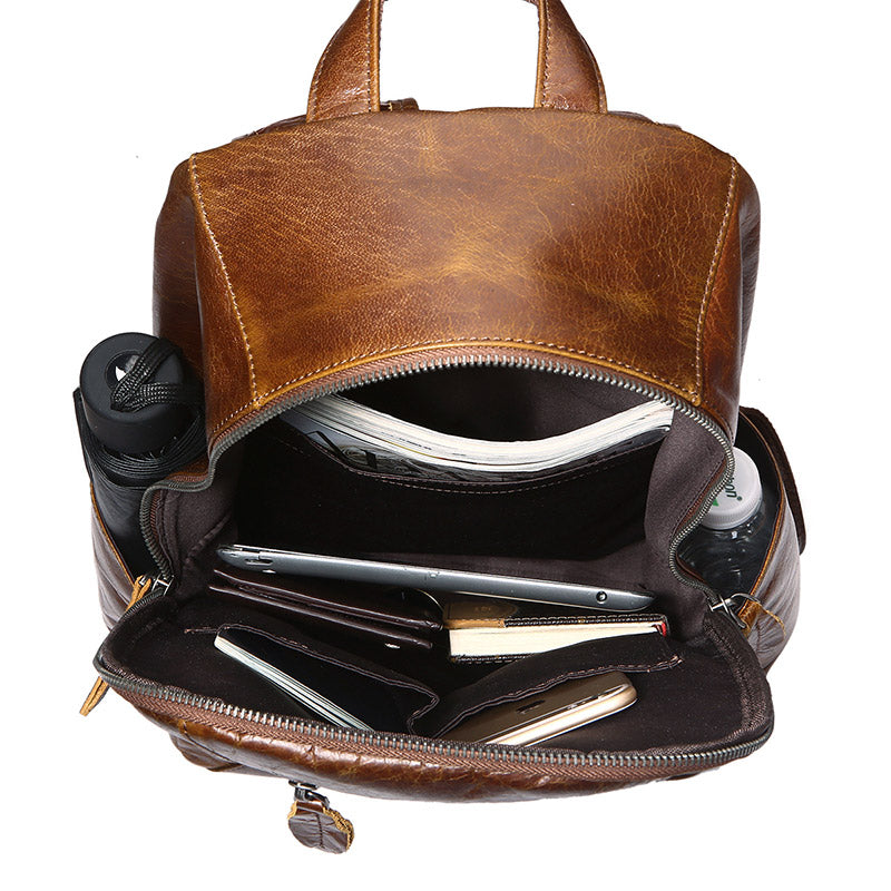 """Metropolitan"" Leather Backpack - Brown"