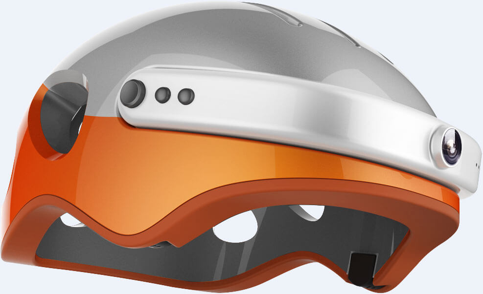 Airwheel C5 Carbon Fibre Smart Helmet with Integrated Bluetooth and HD Cam - Orange