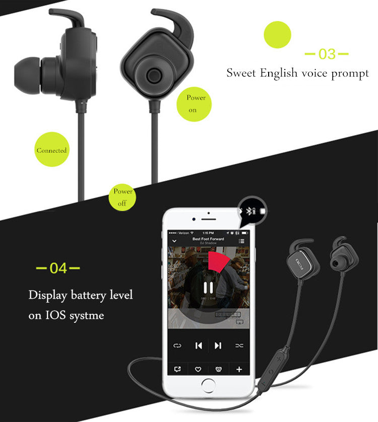 NEW QCY QY12 Bluetooth 4.1 Wireless In-Ear Sport Headsets with Noise Cancelling