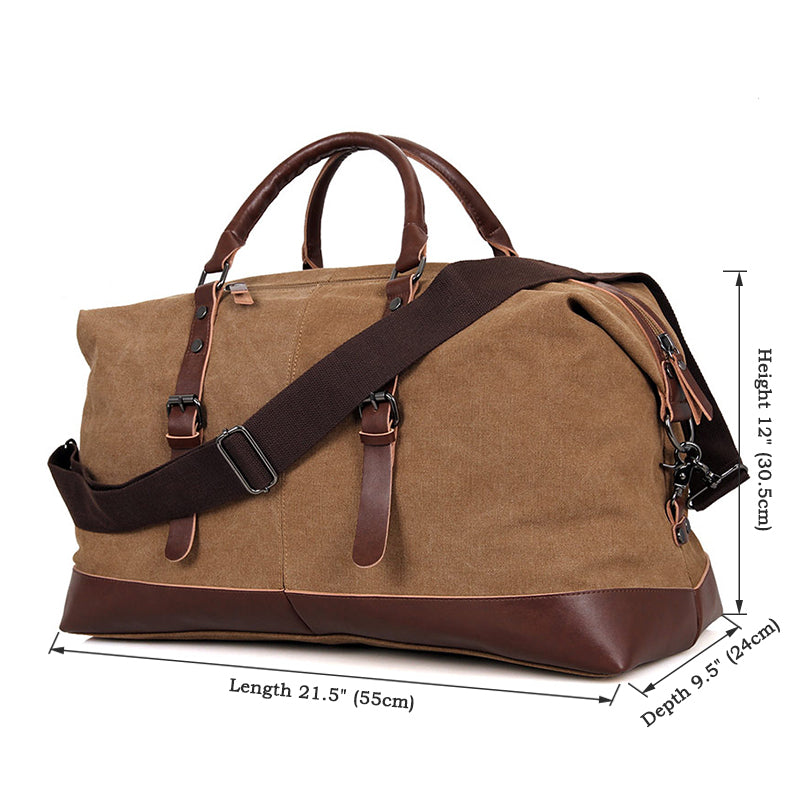 Canvas and Leather Vintage Overnight Duffel Weekender Bag - Brown