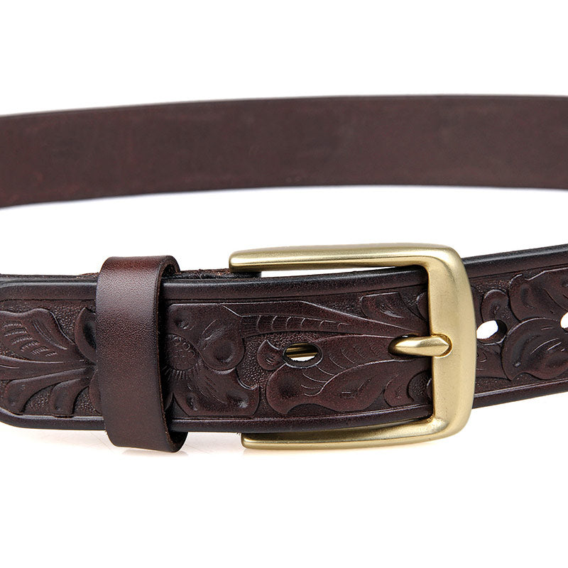 Handmade Vegetable Tanned Italian Leather Belt One Size - USLB014Q