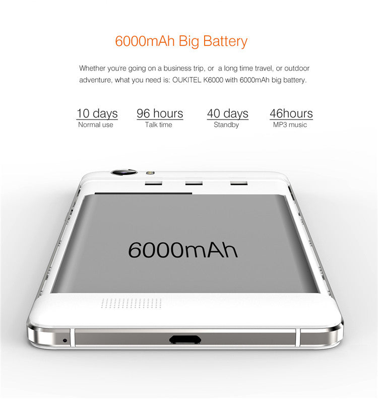 OUKITEL K6000 Smartphone - 6000mah Battery, 5.5 inch 2.5d Curved Screen, 4g, Quad Core CPU, Android 5.1