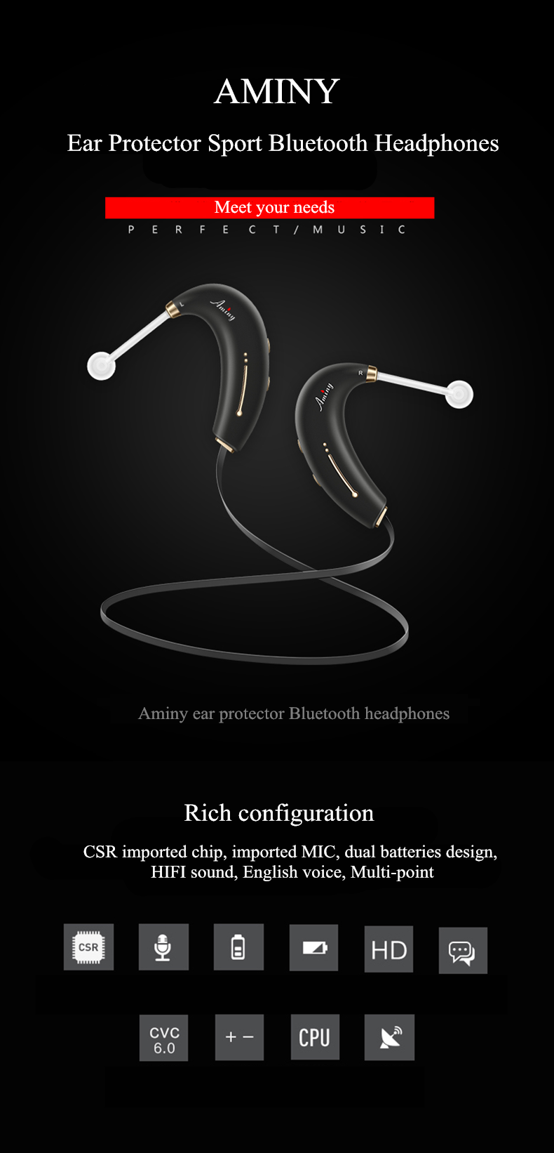 AMINY Ear Protector Sports Wireless Bluetooth 4.1 Earphones with mic