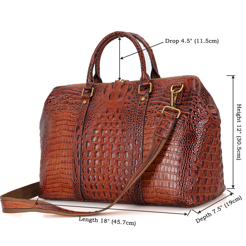 Croc-Embossed Leather Duffel