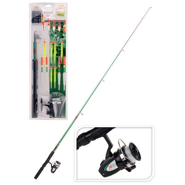 XQ Max Fishing set 19 pieces complete with rod reel and floats