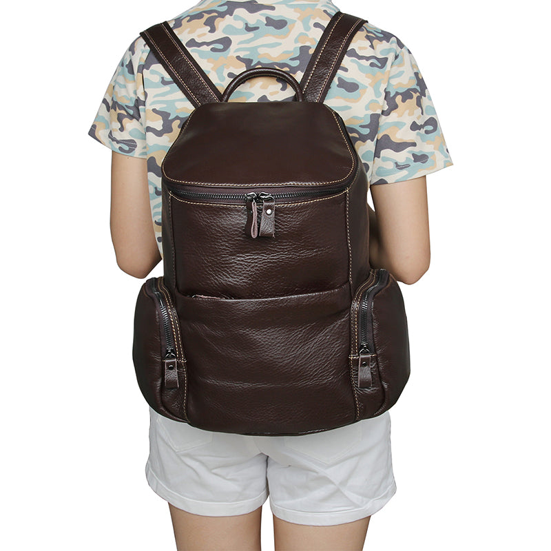 Full Grain Genuine Leather Brown Petite Backpack