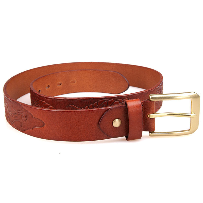 Handmade Vegetable Tanned Italian Leather Belt One Size - USLB016B-1