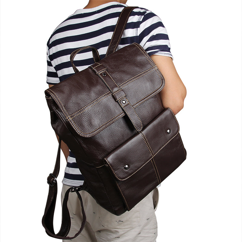 'Oxford' Genuine Leather Backpack - Brown