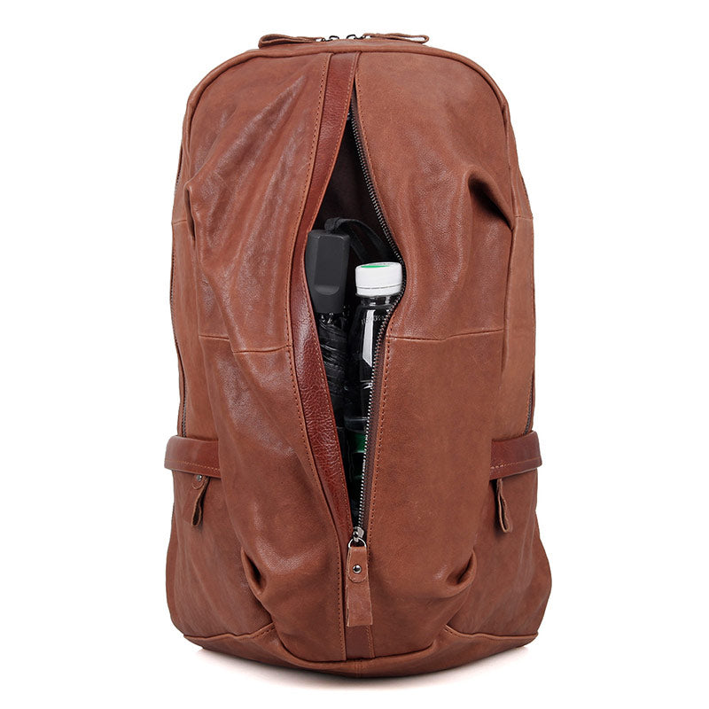 Street Smart Leather Backpack - Brown