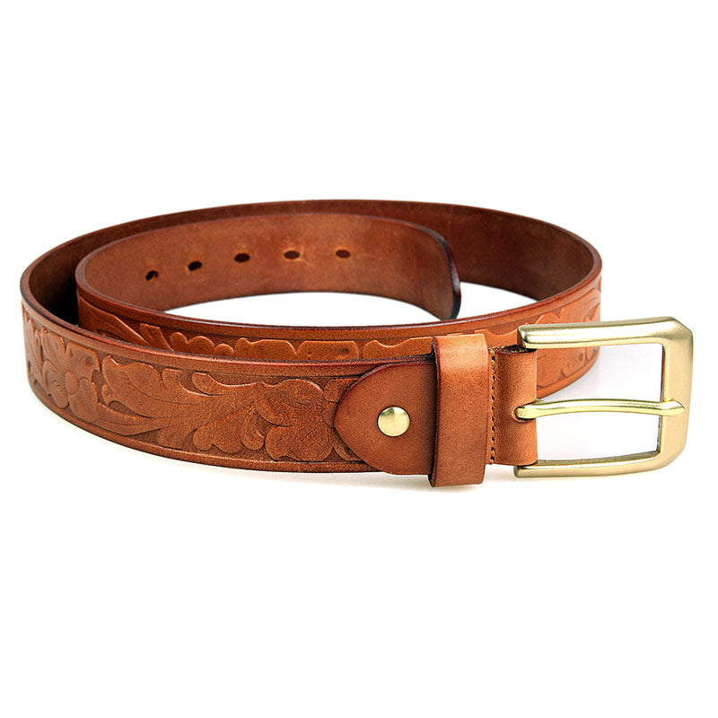 Handmade Vegetable Tanned Italian Leather Belt One Size - USLB014B
