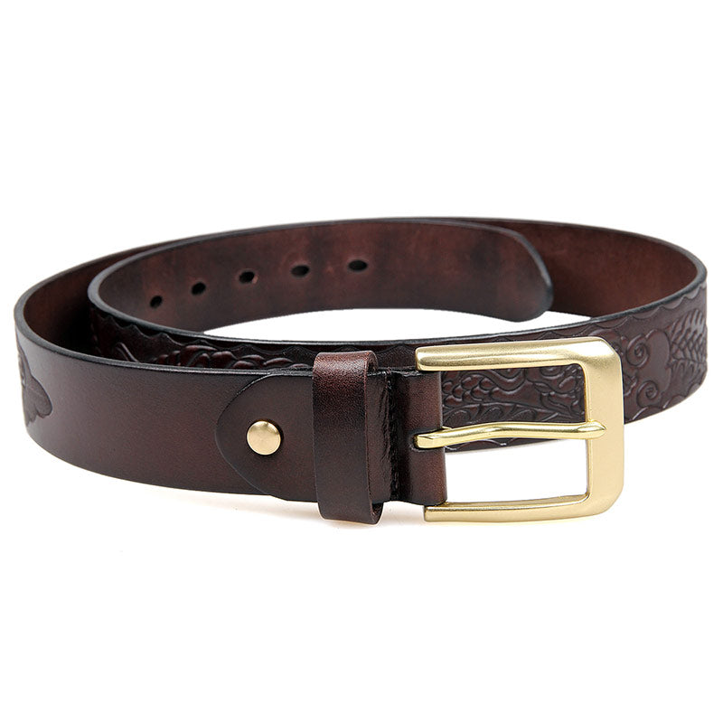 Handmade Vegetable Tanned Italian Leather Belt One Size - USLB016Q