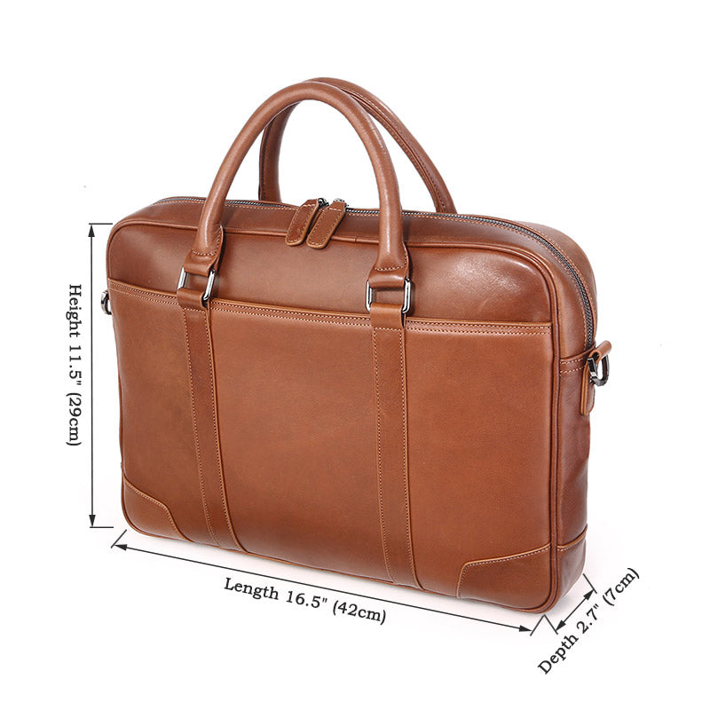 Calabria Italian Leather Business Briefcase - Brown