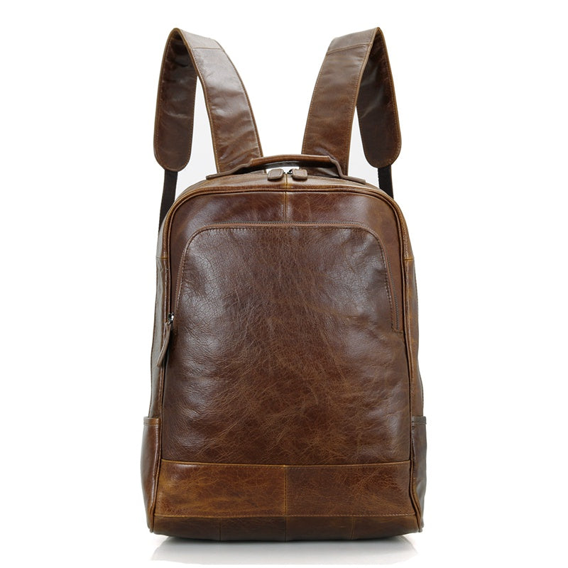 Leather Laptop Backpack - Brown