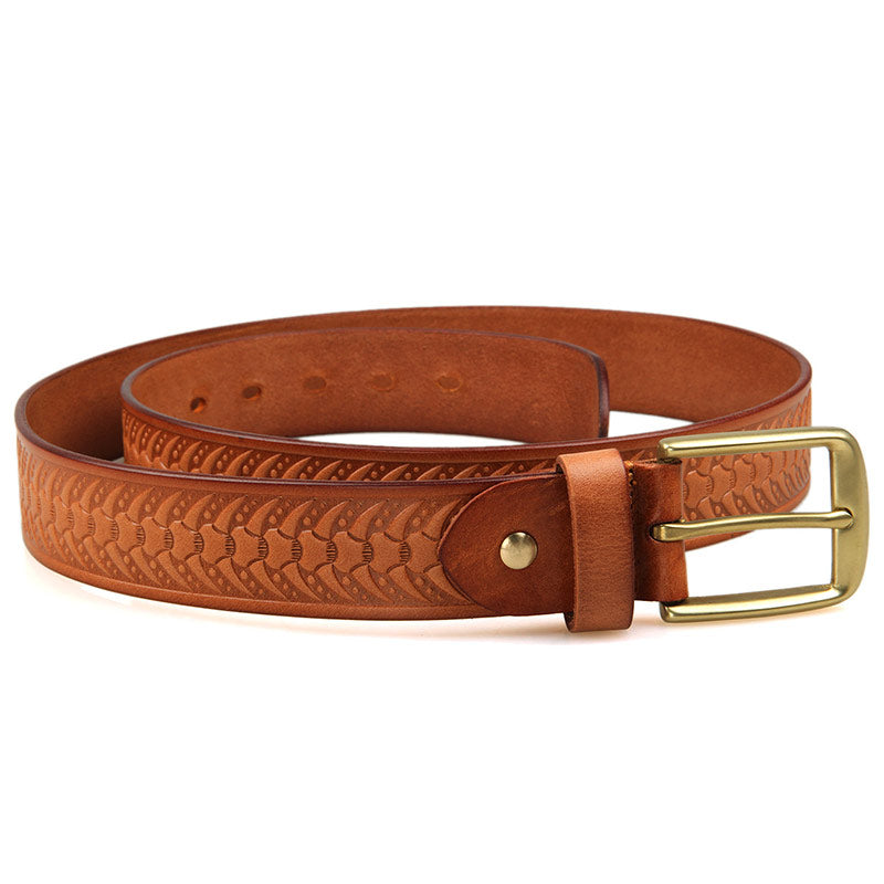 Handmade Vegetable Tanned Italian Leather Belt One Size - USLB015B