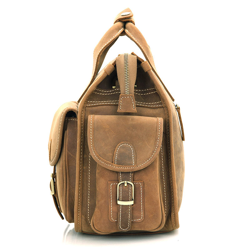 Handmade Genuine Leather Satchel - Light Brown