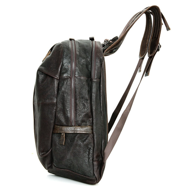 Street Smart Leather Backpack - Dark Brown