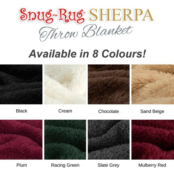 Snug-Rug Sherpa Throw Blanket - Cream