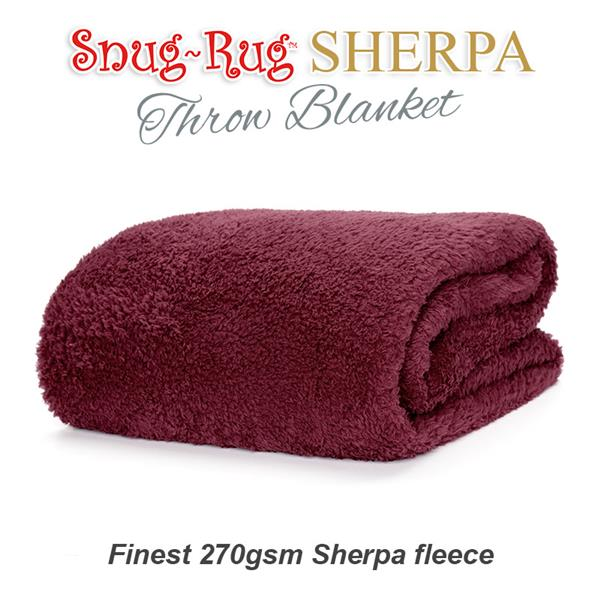 Copy of Snug-Rug Sherpa Throw Blanket - Mulberry Red