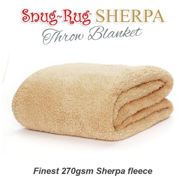 Snug-Rug Sherpa Throw Blanket - Sand Beige