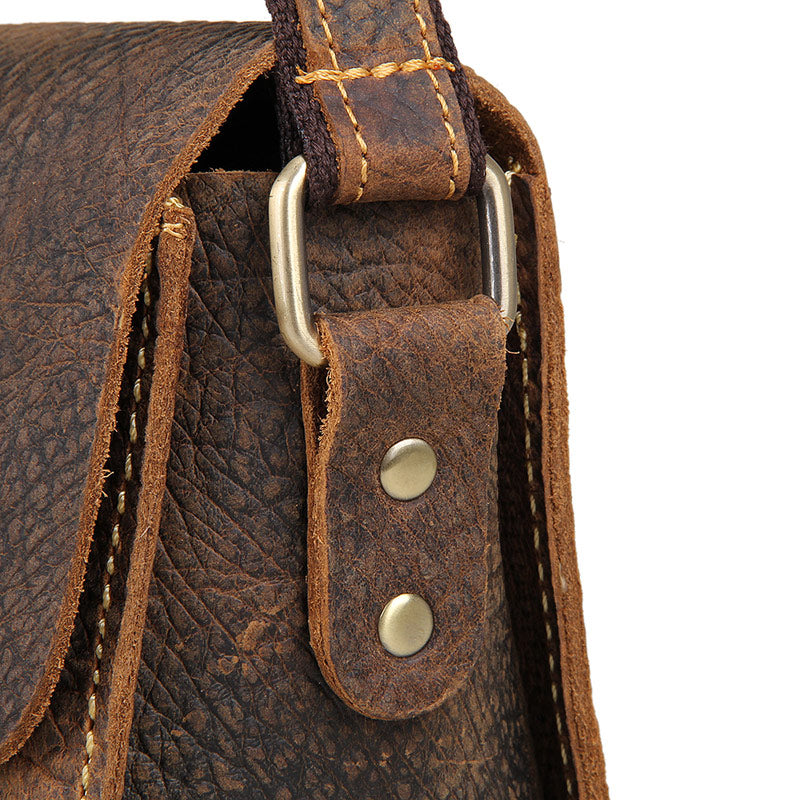 Handmade Small Classic Grain Leather Vintage Across Body Bag