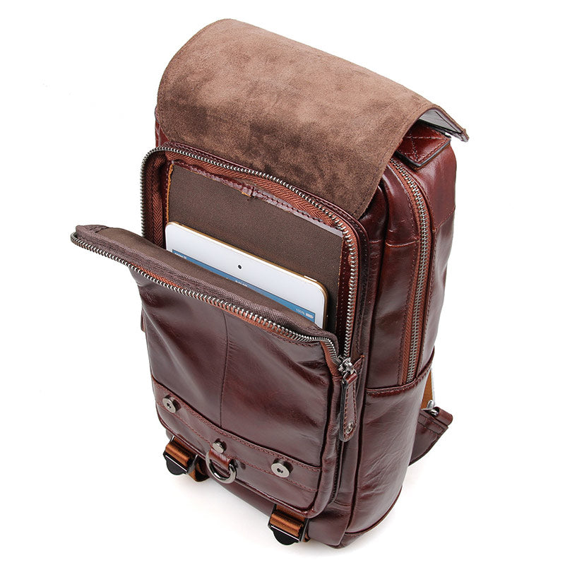Women's Leather Backpack with Zipped Straps