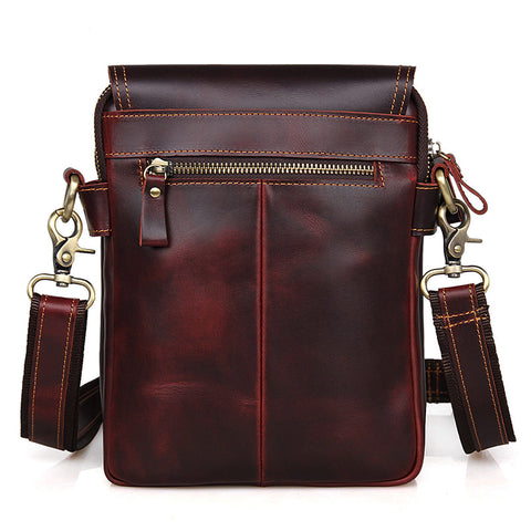 "Image of ""Johnstone"" Leather Vertical Messenger Bag - Dark Brown-Universal Store London™"