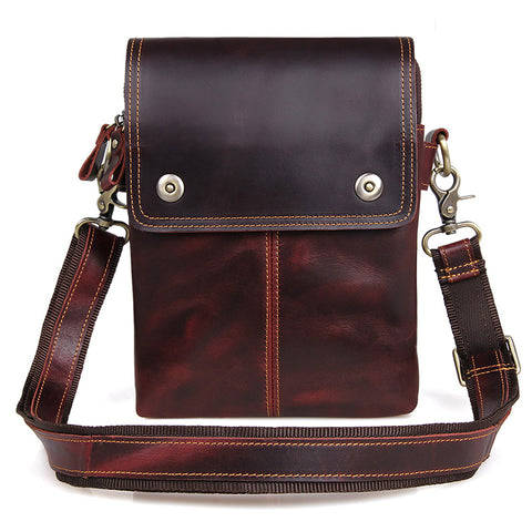 """Johnstone"" Leather Vertical Messenger Bag - Dark Brown-Universal Store London™"
