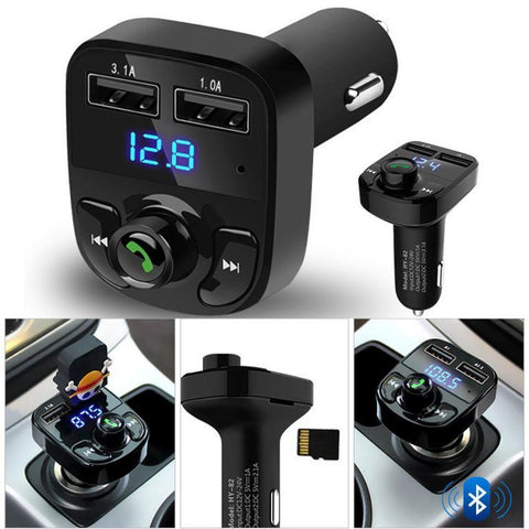 Image of 12-24V 2 USB Car Kit Wireless TF Card U Disk Bluetooth Music LCD MP3 FM Transmitter Car Charger-Universal Store London™
