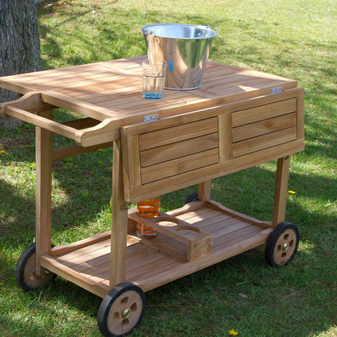Image of Teak wood drinks trolley by Craftenwood-Universal Store London™