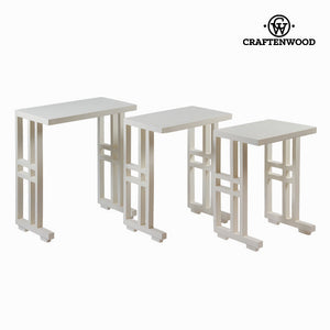 Set of 3 white nest tables - Serious Line Collection by Craftenwood-Universal Store London™
