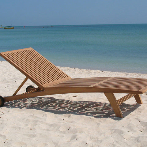 Teak lounger with cushion by Craftenwood-Universal Store London™
