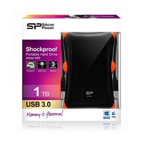 Image of External Hard Drive Silicon Power SP010TBPHDA30S3K 1 TB 2.5'''' USB 3.1-Universal Store London™