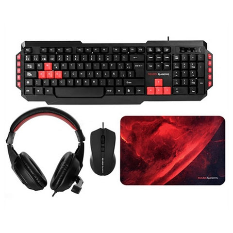 Pack Gaming Mars Gaming MRCP1 (4 Pcs) Black Red-Universal Store London™