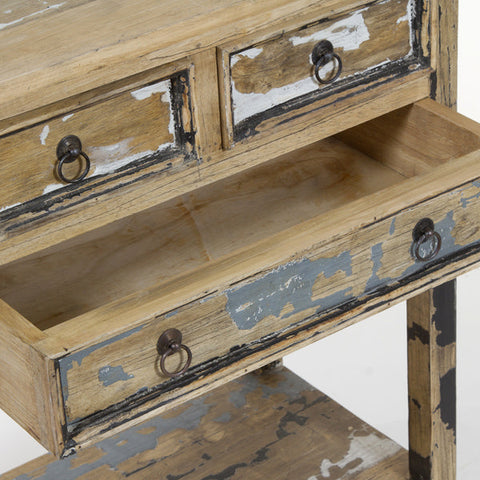 Image of Table 3 drawers pickled - Poetic Collection by Craftenwood-Universal Store London™