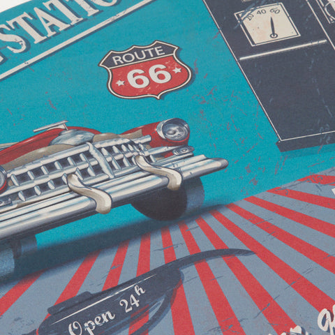 Image of Round centre table with route 66 design by Craftenwood-Universal Store London™