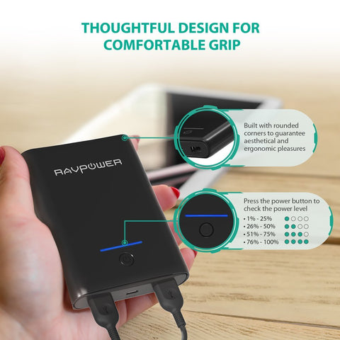 RAVPower 10000mAh USB External Portable Charger Ultra-Compact Battery Power Pack with 3.4A Output, High Speed Charging-Universal Store London™