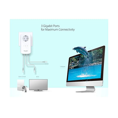 Image of TP-LINK PA8030PKIT Powerline AC1200 3xGbit AC/Pass-Universal Store London™